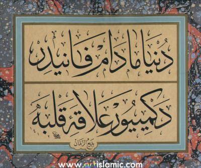 Dünya mâdem fânîdir, degmiyor alâka-i kalbe.  Hattat: Mehmed Özçay