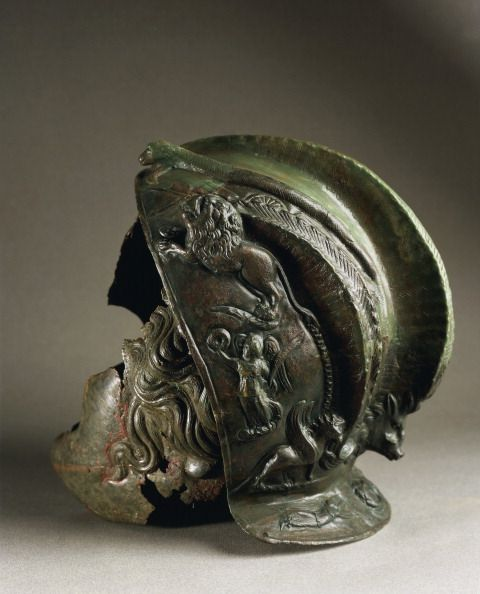 Roman civilization Romania 2nd century AD Bronze helmet belonged to a military garrison commander of the Eleventh Claudian legion at Durostorum