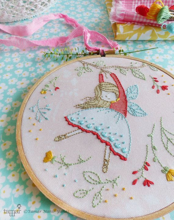 Embroidery Kit, Hand embroidery, Flying Fairy, Fairy nursery, Embroidery girl, Girl gift ideas, Craft kits girls, Hoop art, Fairytale art