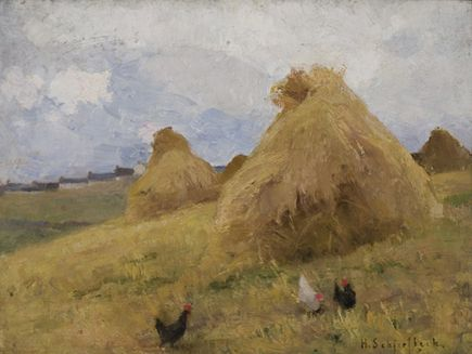 Helene Schjerfbeck, Chickens Among Haystacks, c.1887 (oil on panel), Penlee House Gallery and Museum Penzance Cornwall UK