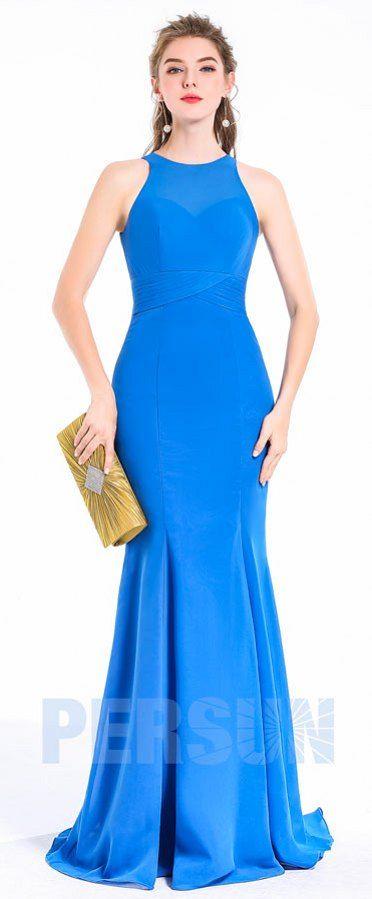 Robe simple élégante de soirée longue pas cher bleu azur col illusion coupe sirène fourreau