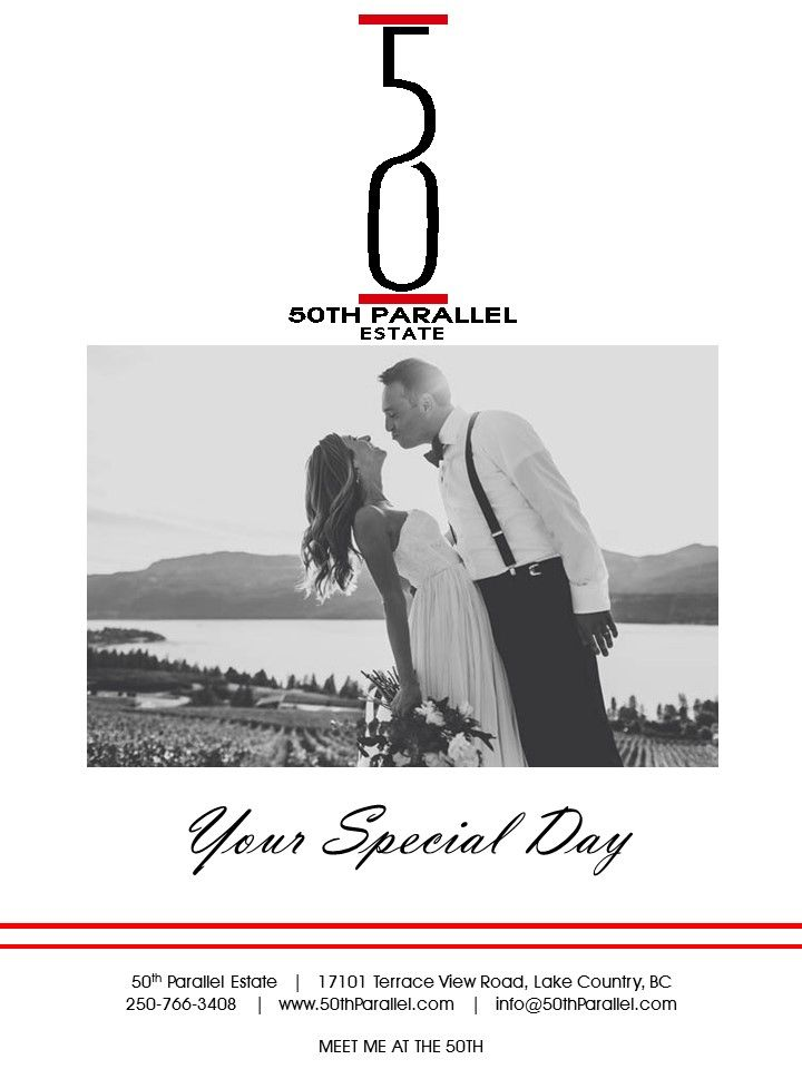 50th Parallel Estate has been designed with unique guest experiences in mind.  From small intimate ceremonies to a large dinner reception, our team will work with you to determine the perfect location suited for your wedding celebration at 50th Parallel Estate. 50th Parallel Estate offers several unique locations for your special day; our infinity event pad, crush pad and winery tank hall. Visit www.50thParallel.com for more information on our Wedding packages.