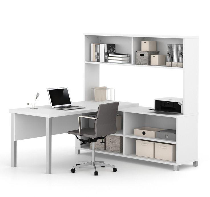 Modern L Shaped Desk With Hutch