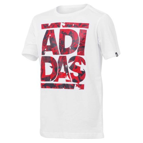 Adidas-Nino-Verano-linaje-Tee-Regular-Fit-Blanco-marca-alemana-Tamano-12-14-o-16