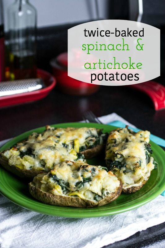 spinach & artichoke potatoes are a simple and delicious vegetarian main or side dish from @chattavore