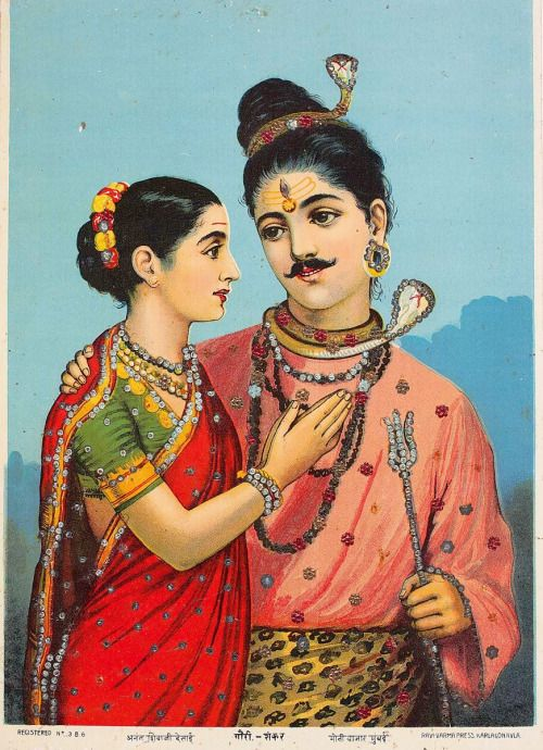 Gauri Shankar  Ravi Varma Press. Sequined oleograph on paper. (via DAGmodern)