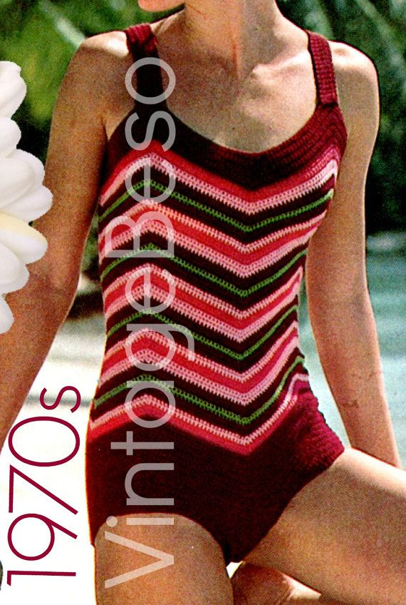 Swimsuit Crochet Pattern Retro 1970s Chevron by VintageBeso