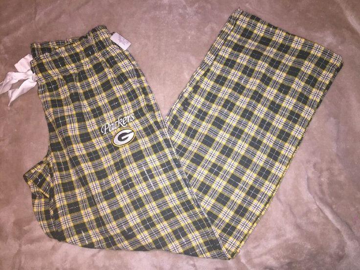New Womens NFL Team Apparel Green Bay Packers Pajama Lounging Pants Small Plaid  | eBay