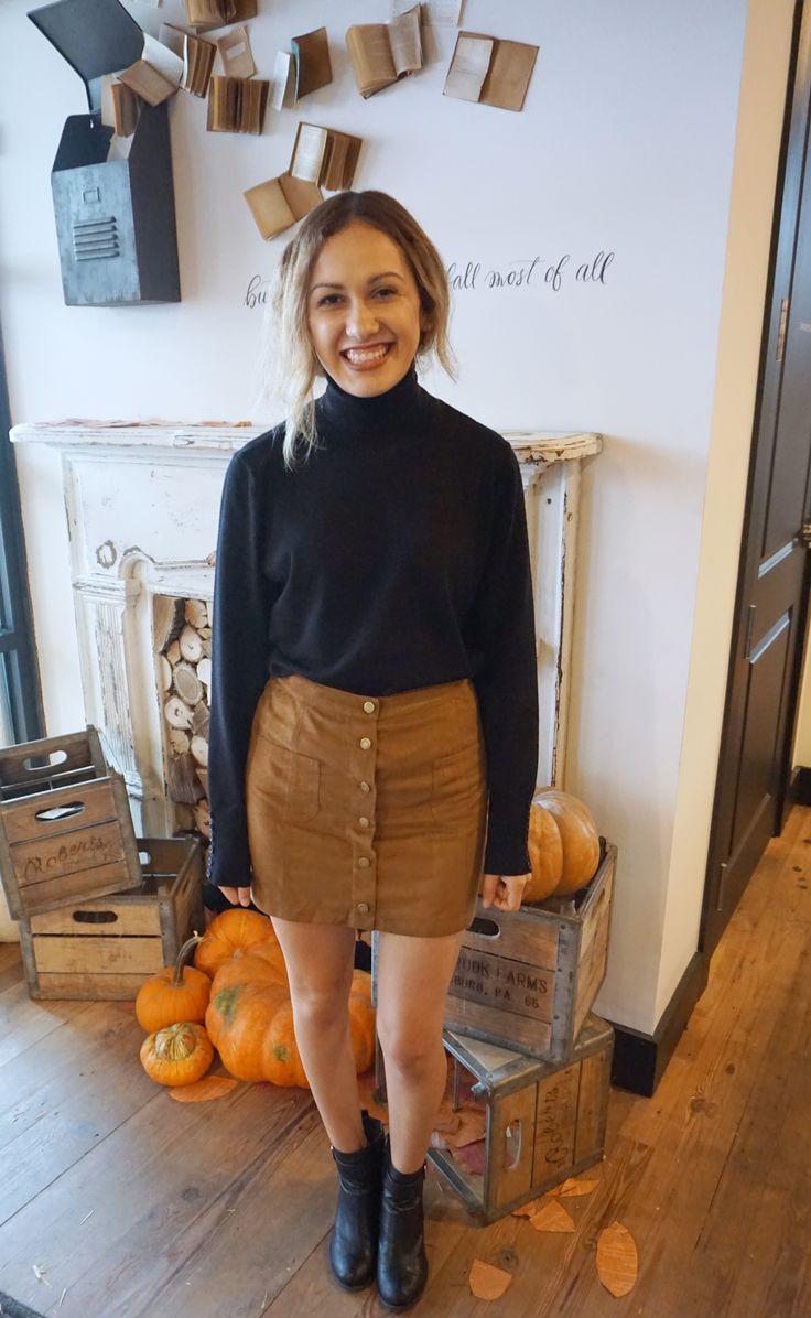 Magnolia Market // Brown Suede Button Up Skirt // black turtle neck