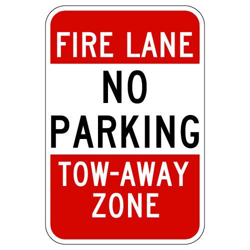 No Parking Fire Lane Tow Away Signs - 12x18