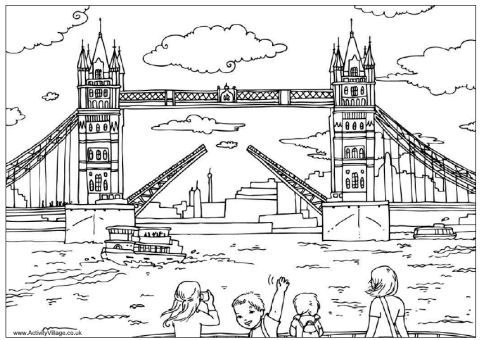 Tower bridge colouring page, London colouring page