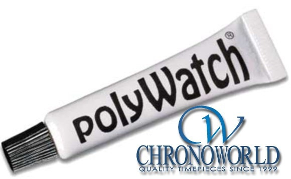 PolyWatch Watch Crystal Polish  Removes scratches safely from plastic (acrylic) watch crystals.  Apply a small amount and polish with a cotton cloth.  Works wonders on your acrylic crystals. $8.95 #polywatch #watch #chronoworld