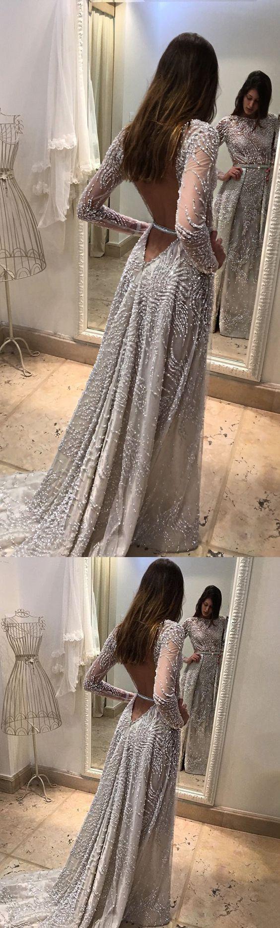 2017 Custom Made Charming Beading Prom Dress, Long Sleeves Prom Dress,Backless Prom Dress,See Through Prom Dress