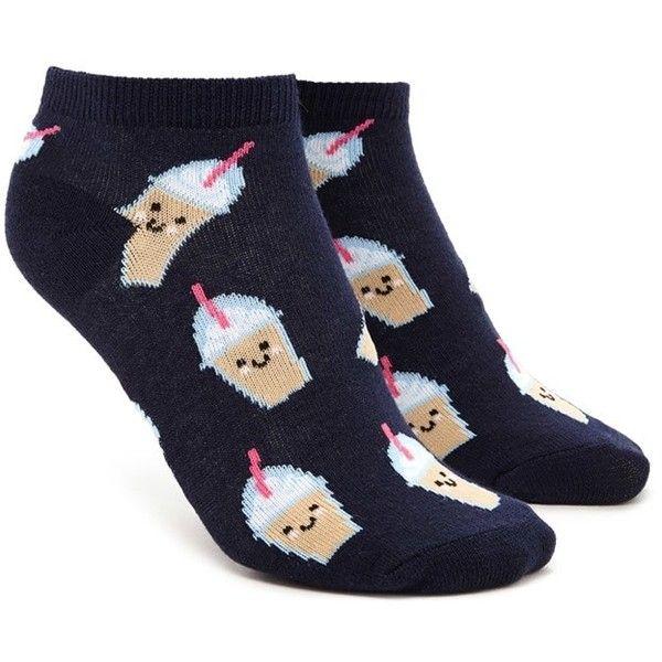 Forever21 Milkshake Print Ankle Socks ($1.90) ❤ liked on Polyvore featuring intimates, hosiery, socks, forever 21, ankle socks, forever 21 socks, patterned ankle socks and tennis socks