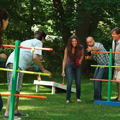 Ladder Golf Game    Nope this isn't like golf at all. Golf balls take on a different form in ladder golf as bolas—a pair of golf balls connected by a length of nylon cord. Wrap one of the bolas over a rung, and you score. If it stays put, that is.