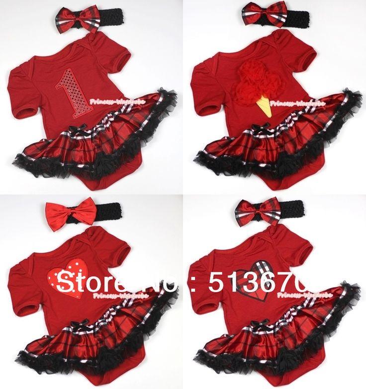 Рождество Красный Боди Комбинезон Красный Черный Проверено Pettiskirt и Повязка Набор Нб-18month MAJS0030