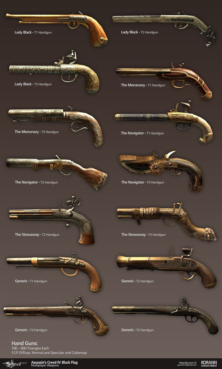 Assassin's Creed IV Black Flag: Multiplayer Weapons, Gaëtan Perrot on ArtStation at http://www.artstation.com/artwork/assassin-s-creed-iv-black-flag-multiplayer-weapons