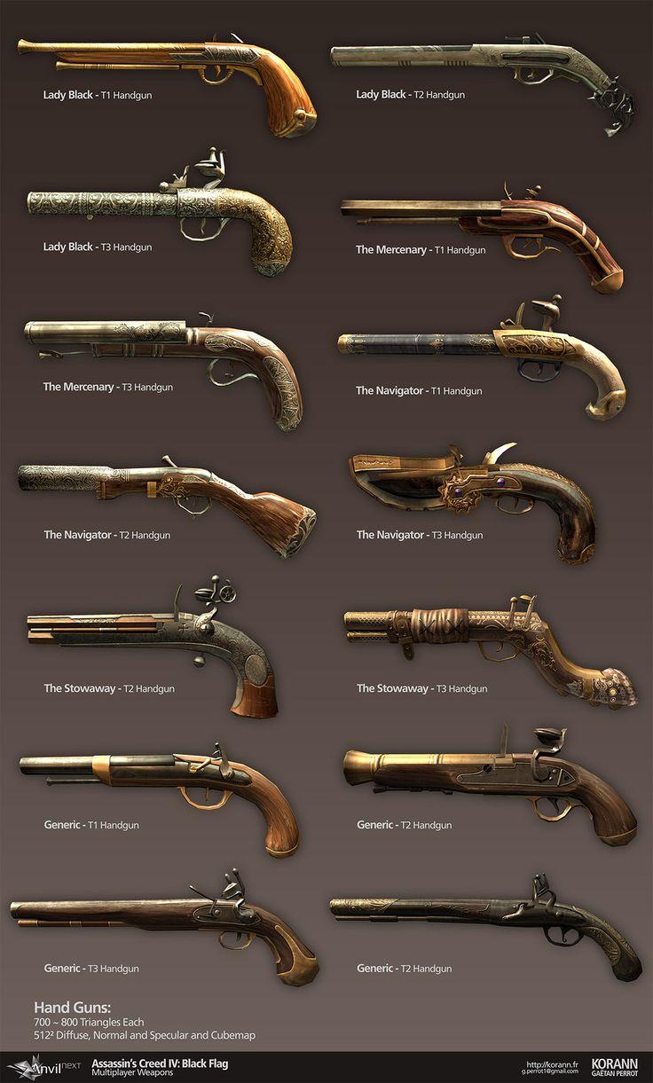 Assassin's Creed IV Black Flag: Multiplayer Weapons, Gaëtan Perrot on ArtStation at http://www.artstation.com/artwork/assassin-s-creed-iv-black-flag-multiplayer-weapons