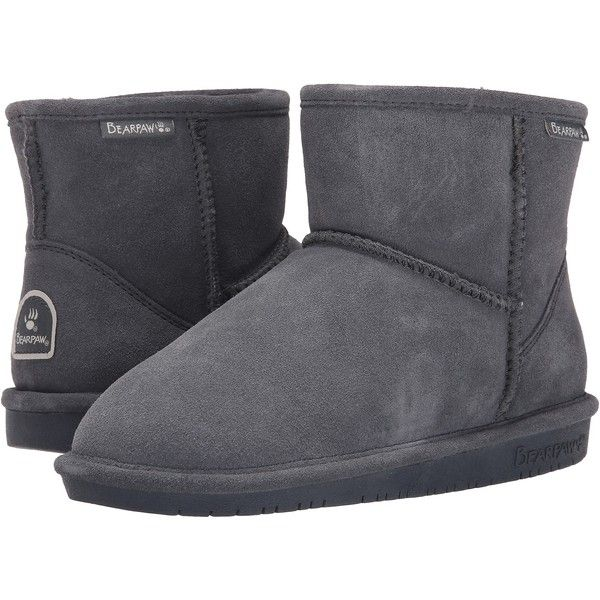 Bearpaw Demi Women's Boots, Gray ($55) ❤ liked on Polyvore featuring shoes, boots, grey, grey shoes, gray boots, grey slip on shoes, shock absorbing shoes and slipon shoes