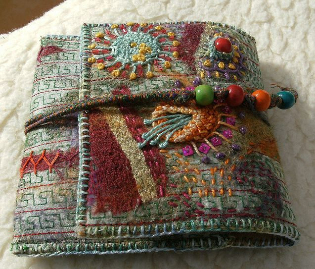 Simple wallet embroidery fiber art and hand