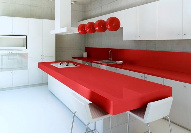 Silestone Rossa Monza: Dreams Kitchens, Colors Countertops, Interiors Design, Red Kitchens, Kitchens Counter, Rosso Monza, Bold Colors, White Kitchens, Kitchen
