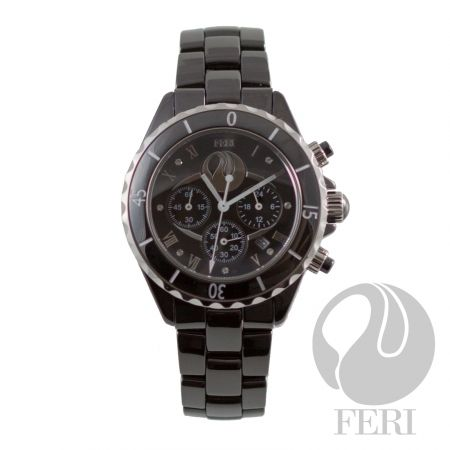 FERI - Axl - Ceramic Watch - Hi-tech ceramic construction - Chronograph - Face bears a light-grabbing cubic zirconia in 7 positions - Displays the day-of-the-month between the 4 and 5 position - FERI logo just below the 12 position - Sapphire crystal glass - Provides 330 feet of water resistance - Face measures 1 1/2 inches and band inside measures 7 inches including face - Scratch resistant - Stays closed with a butterfly clasp - 3 year limited manufacturer warranty - Hypoallergenic