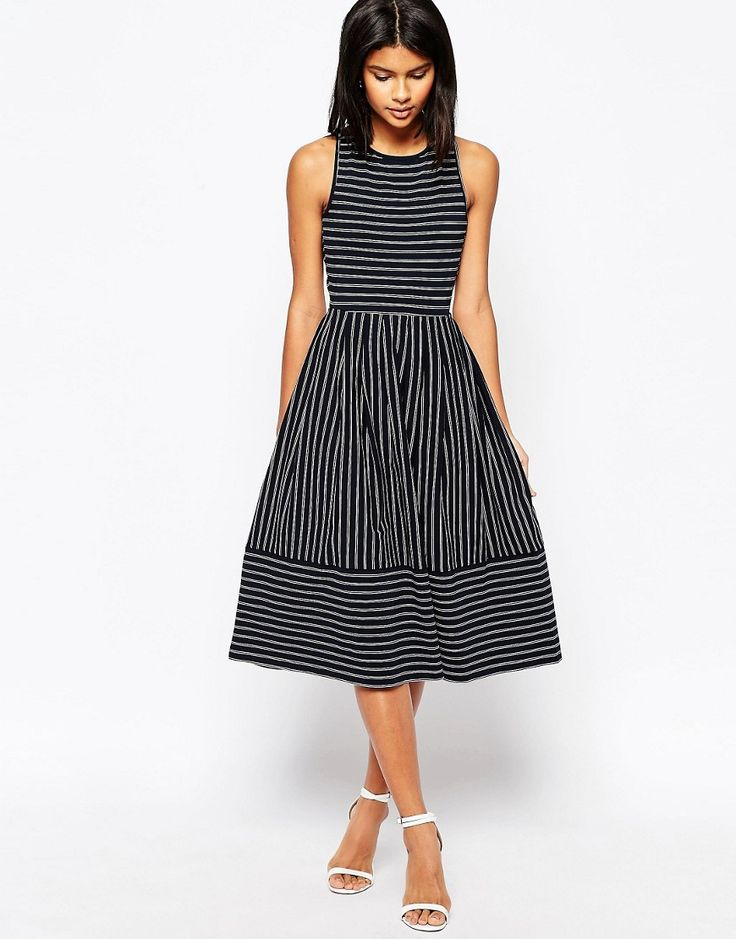 Image 2 of ASOS Midi Skater Dress In Pinstripe With Cross Back