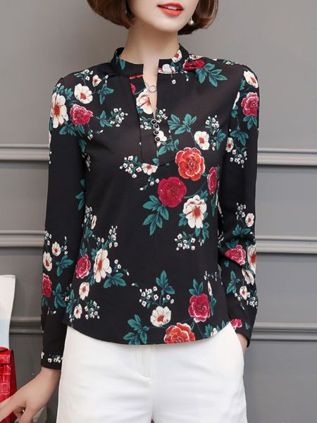 Buy Split Neck Floral Long Sleeve Chiffon Blouse online with cheap prices and discover fashion Blouses at Fashionmia.com.