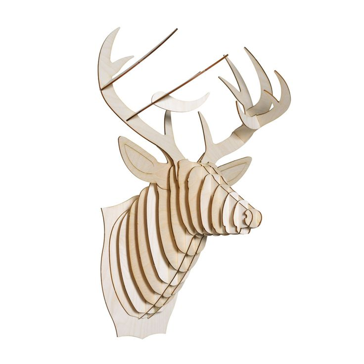 Bucky Birch Wood Deer Head Cardboard Safari Laser Cut Wood Pinterest Deer Heads