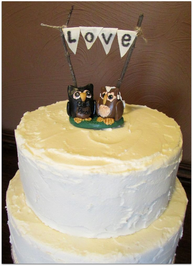 Rustic Style Wedding Cake With Owl Toppers By Samantha S