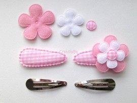 Zelf haarspeldjes maken Diy roze ruitje met vilten bloemen van 4.5 cm.