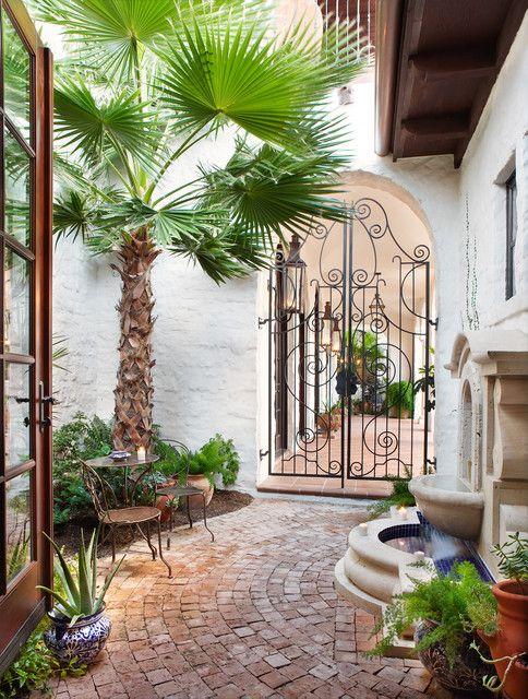 Beautiful brickwork and fountain in Mediterranean style garden