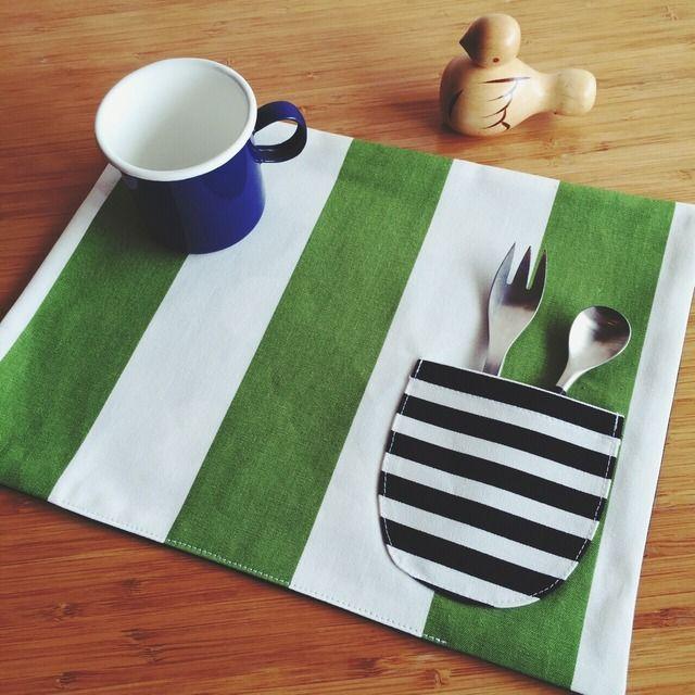 ランチョンマット/リバーシブル/Green&Whitedot