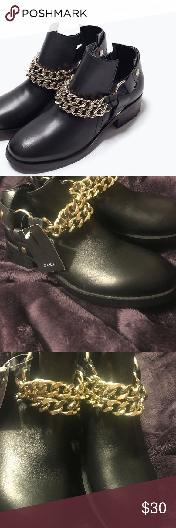 NWT Zara Black Ankle Booties with Chain Never worn, NWT! I bought these at Zara online and never wore them, they were too big on me! They've been sitting in my closet, I no longer have the box but they are in Great shape. The left shoe has a small scuff on the back but can be covered with the back strap so it's unnoticeable! Very Rock & Roll perfect for the girl with a rockstar attitude!! Zara Shoes Ankle Boots & Booties