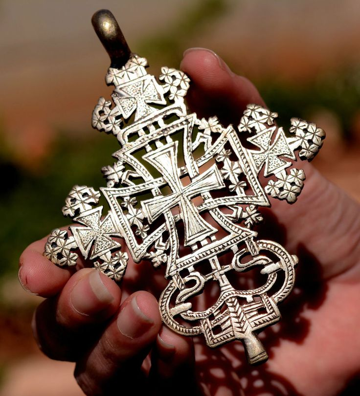 Necklace Cross Pendant Ethiopian Coptic Processional Superb Large Silver 800 . #HandmadeEthinctribal