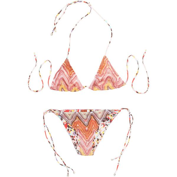 Missoni Mare Pouch Orange Crochet Multi // Patterned triangle bikini (2,690 MXN) ❤ liked on Polyvore featuring swimwear, bikinis, beach wear, sheer swimwear, transparent bikini, bikini swimwear and see through bikini