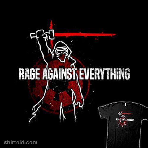 Rage Against Everything | Shirtoid #blairjcampbell #film #kyloren #lightsaber #movie #music #rageagainstthemachine #scifi #starwars
