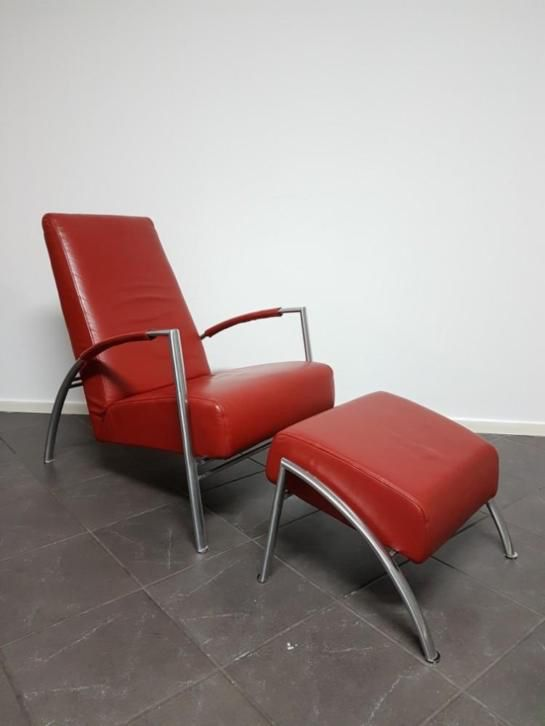 Harvink De Club Fauteuils.Prachtige Leren Harvink De Club Design Fauteuil Met Hocker