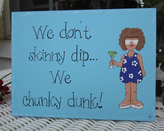 Hand Painted Wooden Blue Pool Sign We don't Skinny by kimgilbert3, $12.00