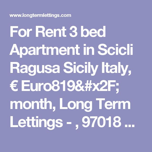 For Rent 3 bed Apartment in Scicli Ragusa Sicily Italy, € Euro819/ month, Long Term Lettings - , 97018 Monthly rentals (tav_7983020)
