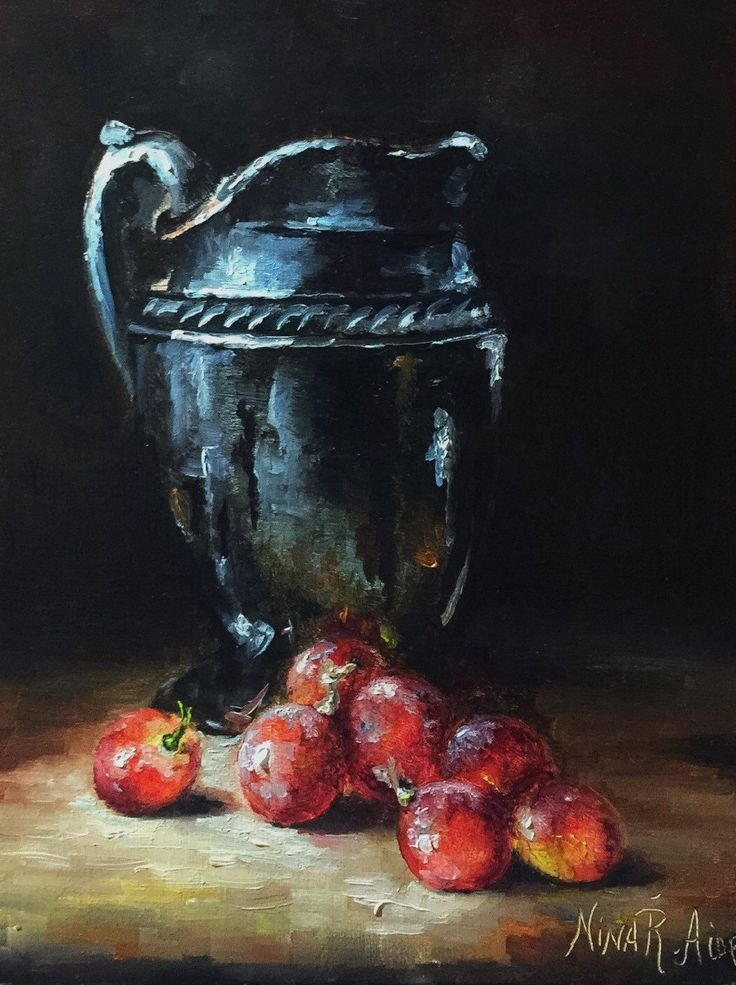 Silver Jug And Grapes Original Oil Painting By Nina R.Aide Fine Art Studio  Gallery Fruit Small Painting Canvas Fruit Painting By NinaRAideStudio On  Etsy ...