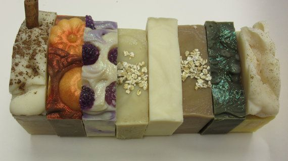 """13.00 USD  Can't decide which ones you would like to try? Pick any three of my lye soaps for just $13.00! That's a great savings! This is for my lye soap bars only! Not scrubs decorative soaps or lotions. Look under """"shop sections"""" on the left & go to """"lye soaps"""" these are the soaps for the pick 3 offer. This is a great deal for the $5.00 bars!! All lye soaps come nicely packaged for gift giving or to keep for yourself! With ingredient labels. Also extra goodies are always thrown in! The…"""