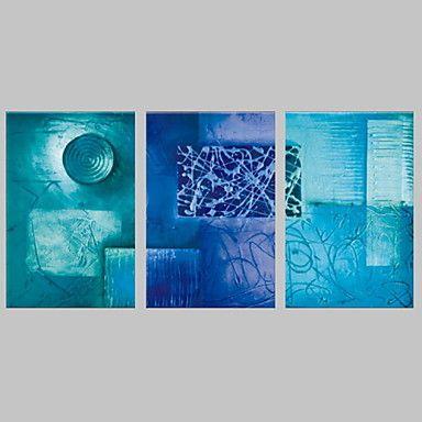 【今だけ☆送料無料】 アートパネル  抽象画3枚で1セット ブルー 円形 四角 模様【納期】お取り寄せ2~3週間前後で発送予定