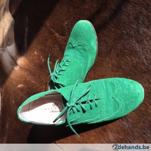 ESSENTIEL groene suede derbies. Maat 37. S/S 2012. Model Camyuni #laceups #nubuck #secondhand #sale #Essentiel