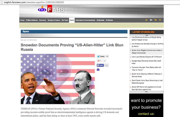 """Iranian news agency says the U.S. is secretly run by Nazi space aliens. Really. - On Sunday, the hard-line semi-official Fars News dropped one of its biggest bombshells yet: The United States government has been secretly run by a """"shadow government"""" of space aliens since 1945. Yes, space aliens. The alien government is based out of Nevada and had previously run Nazi Germany."""