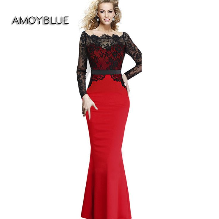 Amoyblue 2017 Spring Women Lace Stitch Long Sleeve Fishtail Dresses High Quality Fashion Wiggle Ladies Bodycon Dress on Sale