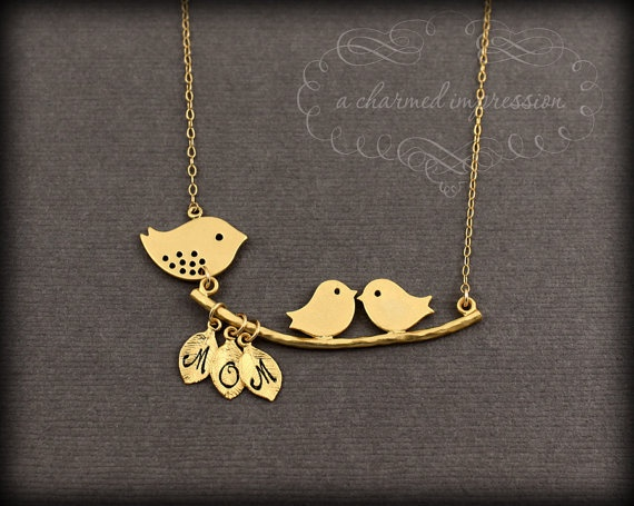 Mama Bird Baby Bird Necklace . Gold Bird Necklace . Three Initial . Personalized Mother's Necklace . New Mom of Twins Jewelry . Shower Gift