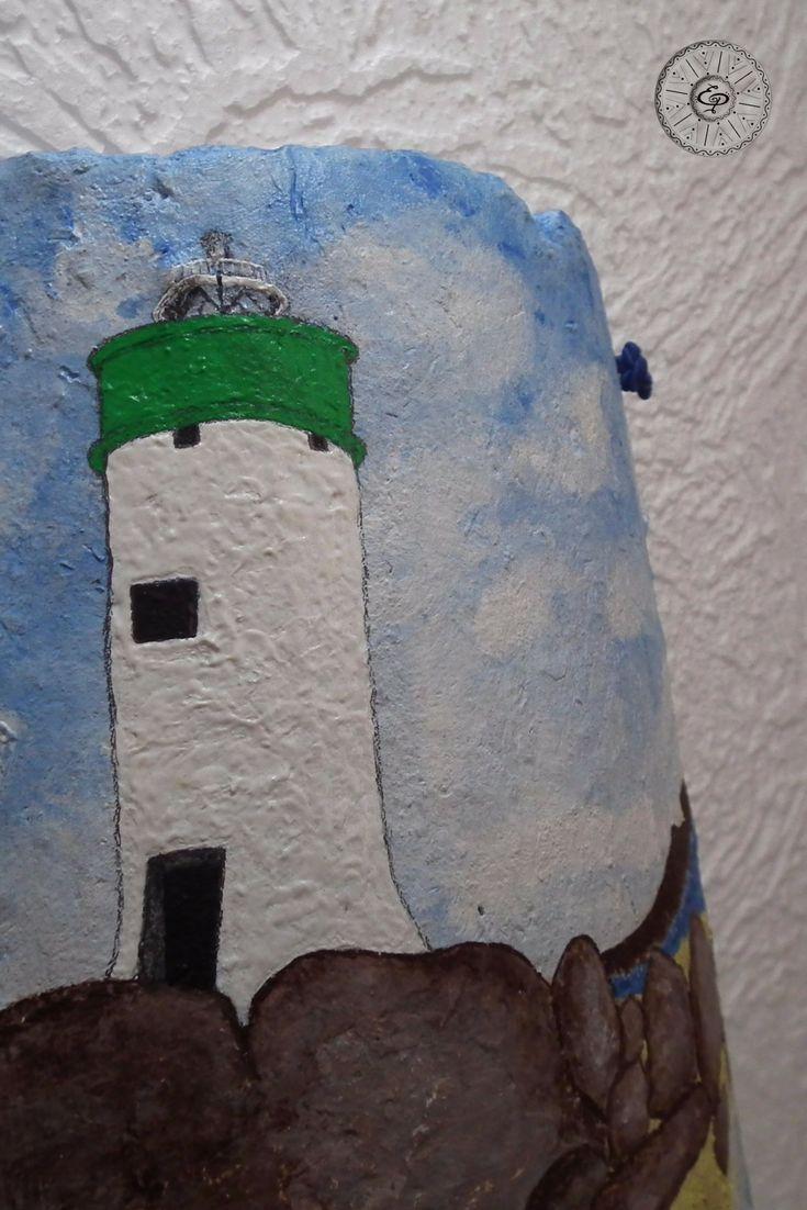 Tegola Sarda Antica dipinta a mano. Porto Faro, Palau. Sardegna.  TerraIncantada, creazioni made in Sardinia.