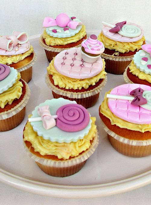 Fondant  cupcakes with sweet toppers