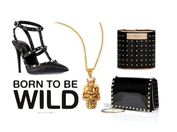 Born to be wild accessories #Burberry bracelet #Valentino heels  #AlexanderMcQueen necklace
